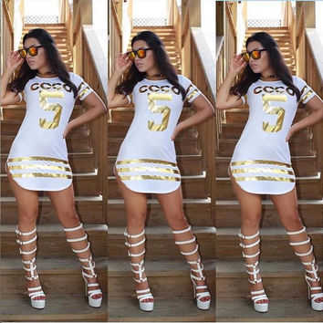 "White with Gold Stripe ""COCO 5"" Printed Mini Dress"