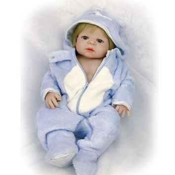 23'' Full Silicone Baby Doll with Gold Hair Realistic Life Reborn Baby Dolls For Boy Children Wear Rompers Real Like bebe Born