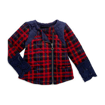 Jessica Simpson Girls 7-16 Senna Quilted Plaid Coat