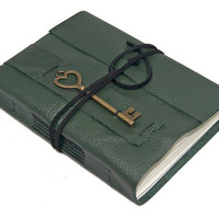 Green Leather Journal with Heart Key Bookmark