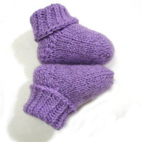 Lavender color socks, wool blend baby booties, choose your size, newborn, 3-6 month, 6-12 month