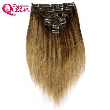 PEAP78W Dreaming Queen Hair b2/8 Piano color Clip In Straight Hair Extensions 100% Brazilian Remy Human Hair 7 Pieces/Set 120g 16 Clips
