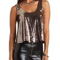 Metallic Sequin Swing Tank Top by Charlotte Russe - Silver Metallic