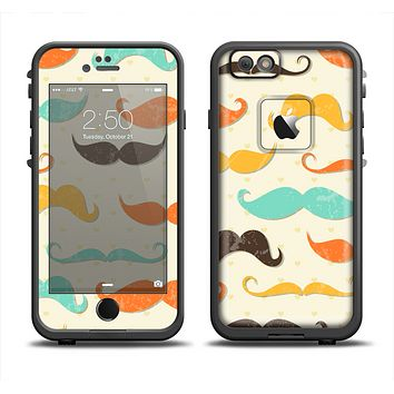 The Vintage Colorful Mustaches Apple iPhone 6 LifeProof Fre Case Skin Set