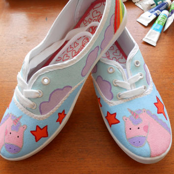 SALE PRICE! hand painted pastel unicorn shoes, original, magical, adult older child size, UK4 EU37