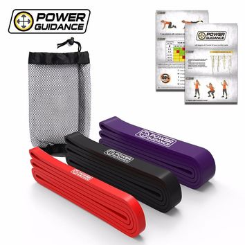 POWER GUIDANCE 3pcs/Set Fitness Rubber Pull Up Resistance Bands Power latex Band Loop Strap Expander Hanging workout Free Bag