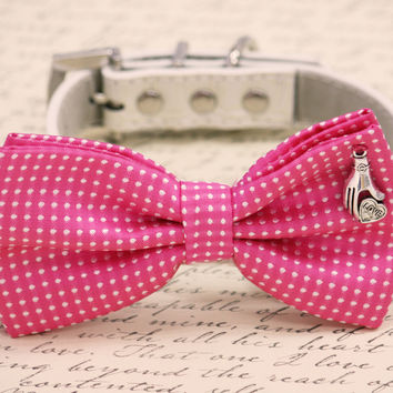 Hot Pink Dog Bow Tie, birthday gift, Dog lovers, Polka dots bow tie
