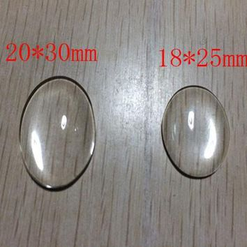 5pc/lot 18*25/30*40mm  Oval clear Glass Cabochons Glass Domed Round Transparent Clear Magnifying Glass Cabochon