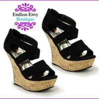Strap Wedge Shoes Black Sandals Heels  Women New Summer Style