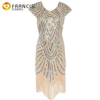 Luxury 1920s Vintage Gatsby Art Deco Printed Sequin Dress Elegant Party Vestidoes Fringed Hem Women Cocktail Flapper Dresses