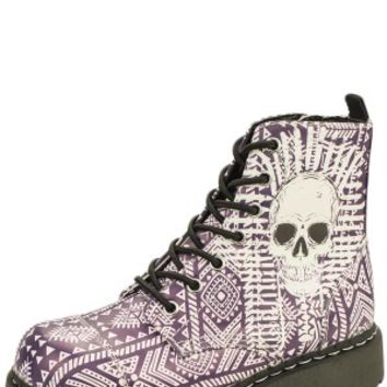 Vegan Friendly Aztec Skull Themed Anarchic Combat Boots