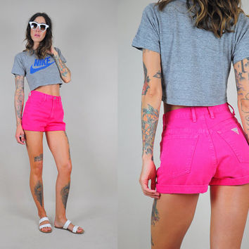 GUESS hot pink vtg 90's HIGH WAIST jean Shorts tiny fit bold denim cotton
