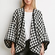 Houndstooth Open-Front Poncho