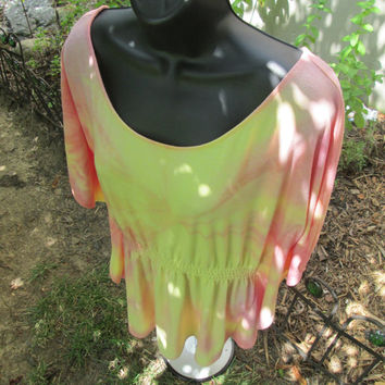 Ladies or teens tie-dye Medium shirt. Polyester, rayon, gathered waist, sunset coral, pink, yellow, butterfly sleeves, graceful beauty.