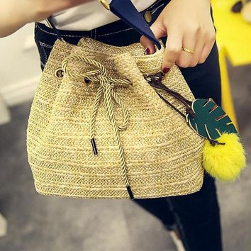 Drawstring Straw Bucket Bag