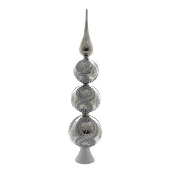 Tree Topper Finial GLASS TREE TOPPER Christmas Free Standing Gg0637 Silver