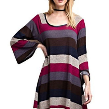 Easel Women's Bell Sleeve Striped Knit Striped Above Knee Dress with Crochet Lace Hem