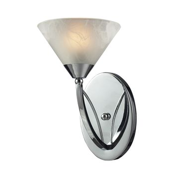 17020/1 Elysburg 1 Light Vanity In Polished Chrome And White Glass