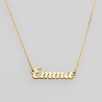 Tiny Gold Name Necklace-Personalized Necklace-Name Necklace-Custom Name Necklace-Name Jewelry-Personalized Name Plate Jewelry