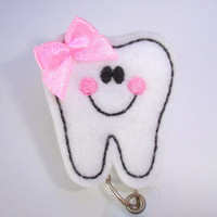 Dental badge holder - Tooth Buddy - petite - white felt tooth with bow pink cheeks badge reel - dentist dental assistant hygienist DA