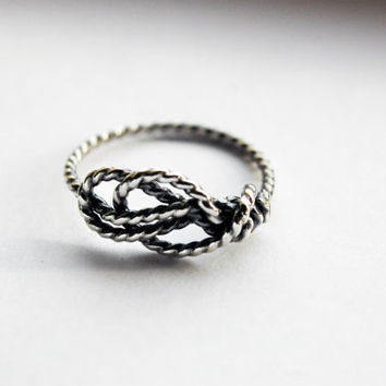 Sterling Silver Handformed Sailor's Love Knot ring