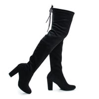 Snivy by Delicious, Black Suede OTK Over The Knee Thigh High Slouchy Boots w/ Back Lace Tie & Block Heel