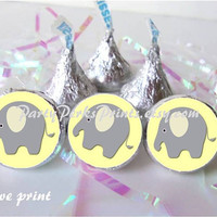 Gray Elephant Yellow Baby Shower Favors Candy Labels Stickers fits Kisses