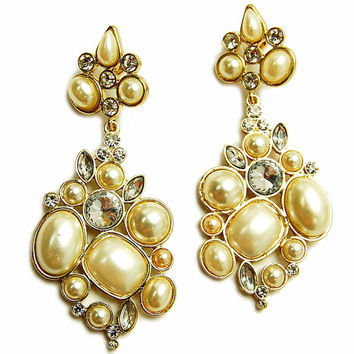 Camille's Fancy Cream Cluster Style Gold Earrings-Final Sale