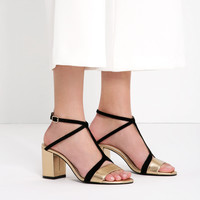 LEATHER HIGH HEEL SANDALS WITH STRAP DETAIL - View all-SHOES-WOMAN | ZARA United Kingdom