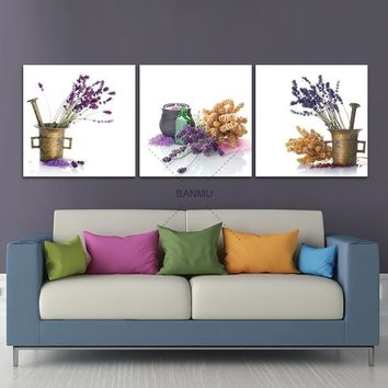 BNAMU Wall Art Pictures 3 Pieces Modern Prints Floral Artwork Purple Lavender Print to Photos Printed Paintings on Canvas Decor