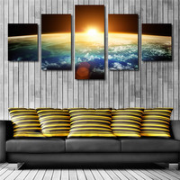 Modern Home Wall Decor Canvas Sunrise Unframed Picture Art HD Print Painting 5 Pieces/Set (No Frame)