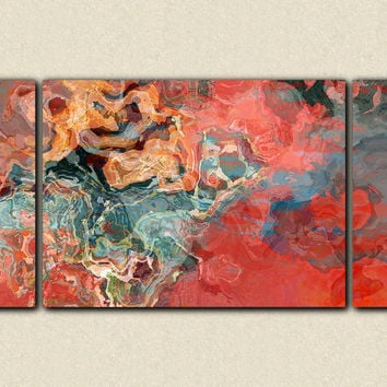 "Large contemporary triptych, 30x60 to 40x78 stretched canvas print in red and blue, ""Sailing On the Red Sea"""