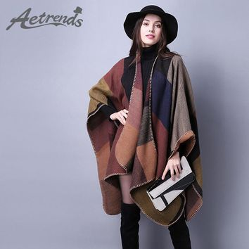 [AETRENDS] 2016 New Brand Women's Winter Poncho Vintage Blanket Women's Lady Knit Shawl Cape Cashmere Scarf Poncho Z-2241