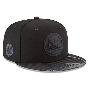 Men's Golden State Warriors Black Tonal NBA18 All Star Game On Court Collection 9FIFTY Snapback Hat By New Era