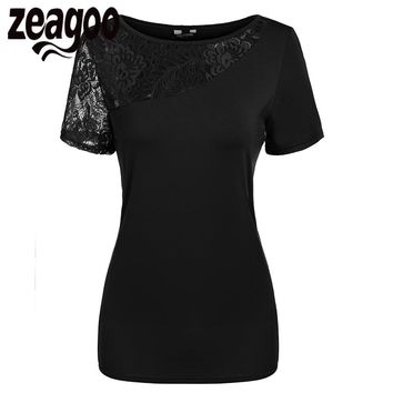 Zeagoo Summer Women T-Shirt Round Neck Short Sleeve Lace Patchwork Slim Fit T-Shirt Casual Tops Tshirt Fashion Tee Shirt Femme