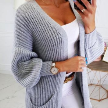Autumn and winter casual solid color cardigan sweater sweater long coat