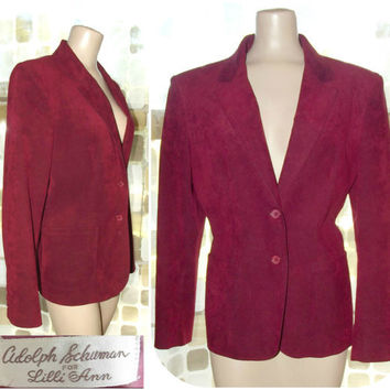 Vintage OXBLOOD Burgundy Red Ultra Suede Lilli Ann Jacket L/XL Suit Blazer 70s