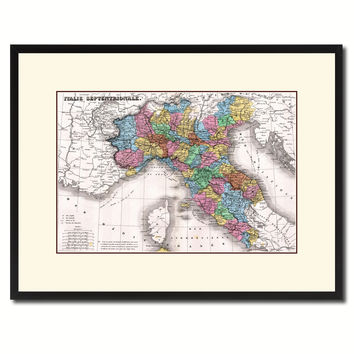 North Italy Vintage Antique Map Wall Art Home Decor Gift Ideas Canvas Print Custom Picture Frame
