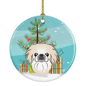 Christmas Tree and Pekingese Ceramic Ornament BB1593CO1