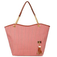 Tobey New Fashion Stripe Design Women Street Snap Candid Tote Single Shoulder Canvas Bag Handbag Three Colors Available Red Blue Black (Red)