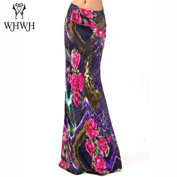 Women Summer Long Flower Skirt 2016 Faldas Largas Sexy Knit Pencil Skirts Womens Jupe Longue Bohemian Saia Longa Long Skirt