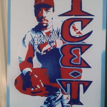 Ice -T canvas painting,stencils & spray paints,wall art,hip hop,rap,oldskool,80s,nike