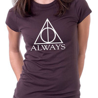 Always Harry Potter T-Shirt Ladies Brown and White Tee
