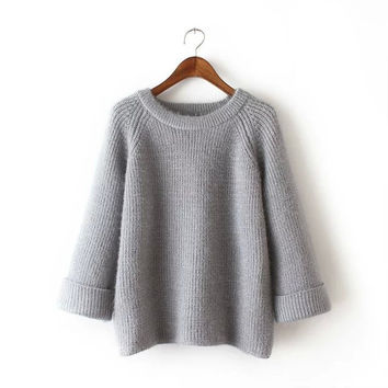 Stylish Korean Round-neck Long Sleeve Pullover Women's Fashion Tops Sweater [4918987076]