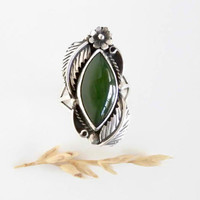 Vintage Aventurine Ring - Sterling Silver Stone Ring - Silver Ring with Forest Green Natural Gemstone  - Native American Design - Size 8