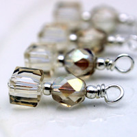 Khaki Square Cube Crystals with Khaki AB Czech Crystals Vintage Style Bead Dangle Set