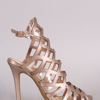 Geometric Cutout Peep Toe Stiletto Heel
