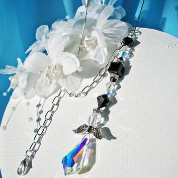Rear View Mirror Car Charm Swarovski Black Crystal Guardian Angel Suncatcher Car Accessory