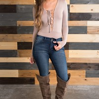 Tyron Lace-Up Bodysuit (Taupe)