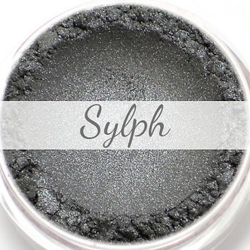 "Eyeshadow Sample - ""Sylph"" - silver, metallic dark gray (Vegan) Mineral Makeup Eye Color Pigment"